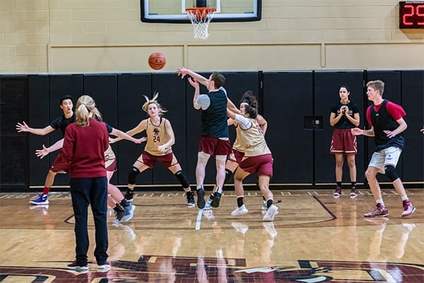 BC women's basketball practices with scout team