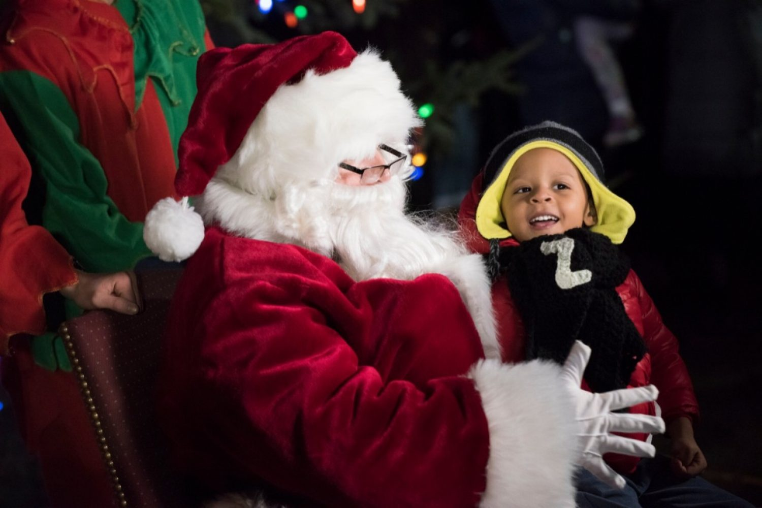 A child with Santa