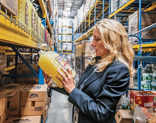 Parsons inspects labels at Restaurant Depot