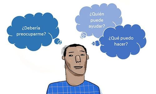 "An illustration of a man with thought bubbles reading ""should I be worried?"" in Spanish."