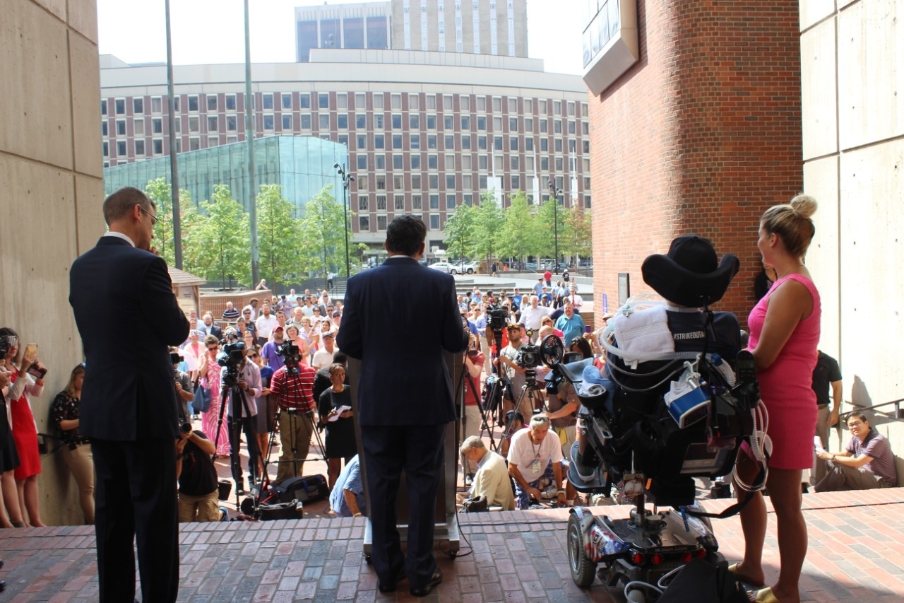 In 2017, a crowd rallied on City Hall Plaza as Boston Mayor Marty Walsh WCAS '09 declared Sept. 5 'Pete Frates Day.'