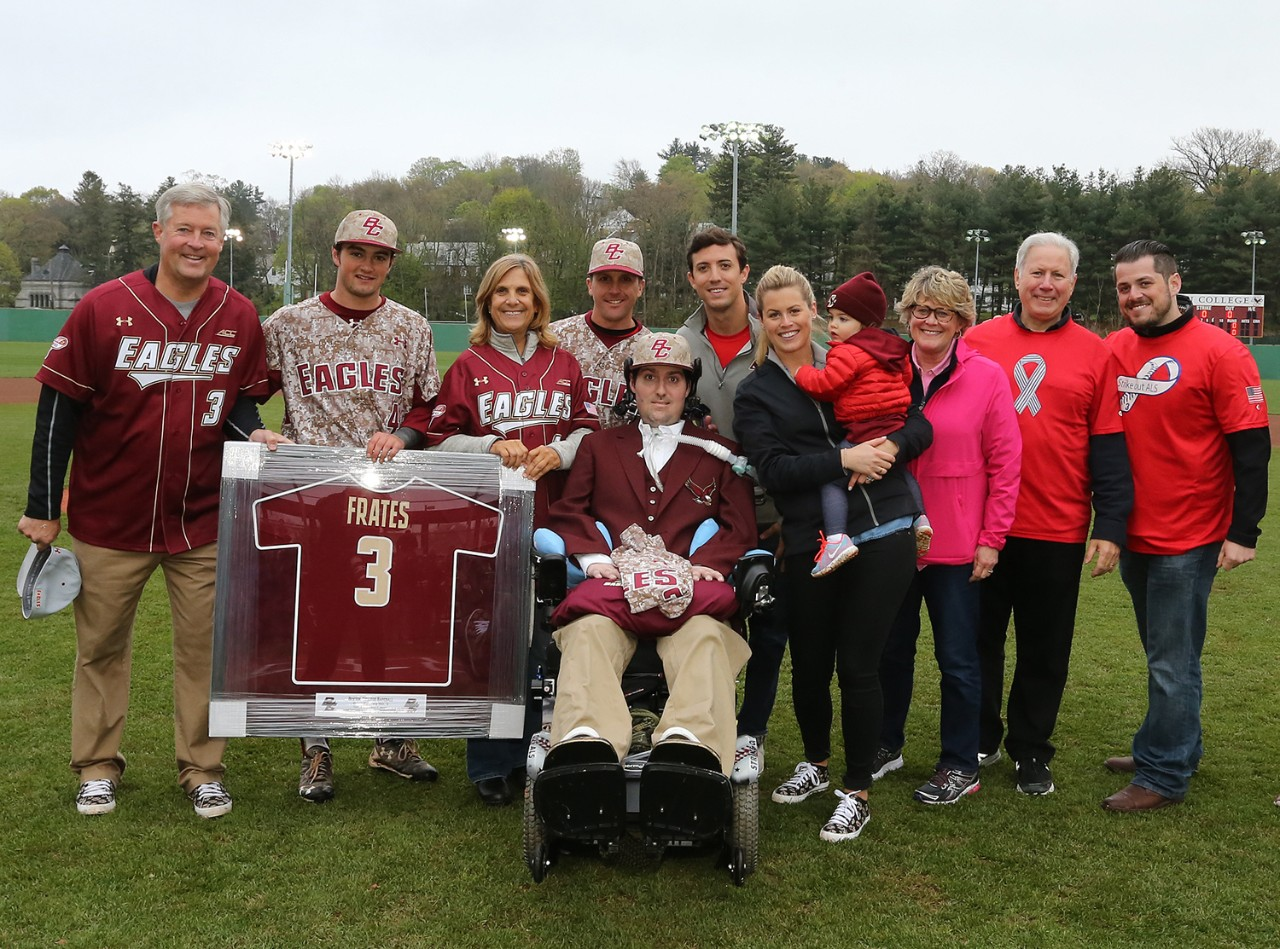 Boston College held a ceremony to retire Pete Frates' No. 3 jersey before the fifth annual ALS Awareness Game in 2016.