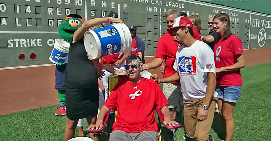 Pete Frates took an Ice Bucket Challenge dousing himself in 2014, choosing center field at Fenway Park for the action. In 2017, he donated the bucket and his sunglasses to the National Baseball Hall of Fame's museum collection.