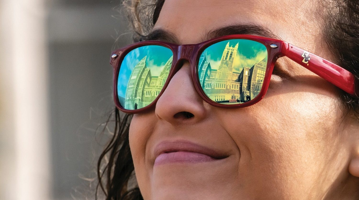 Gasson Hall reflected in sunglasses