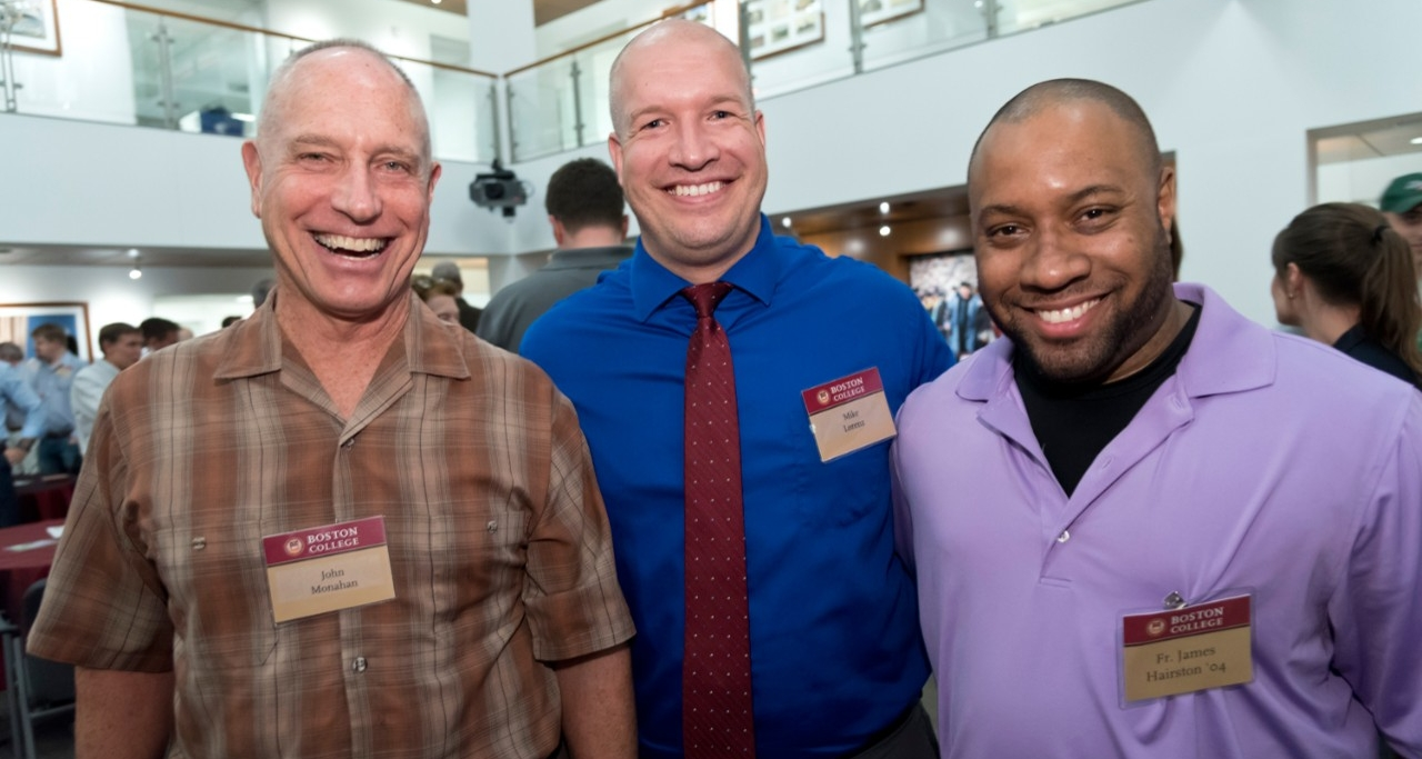 John Monahan of University Mission and Ministry, Mike Lorenz of the Office of Residential Life, and Campus Minister Fr. James Hairston '04