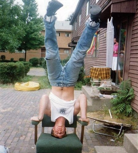 Headstand on chair
