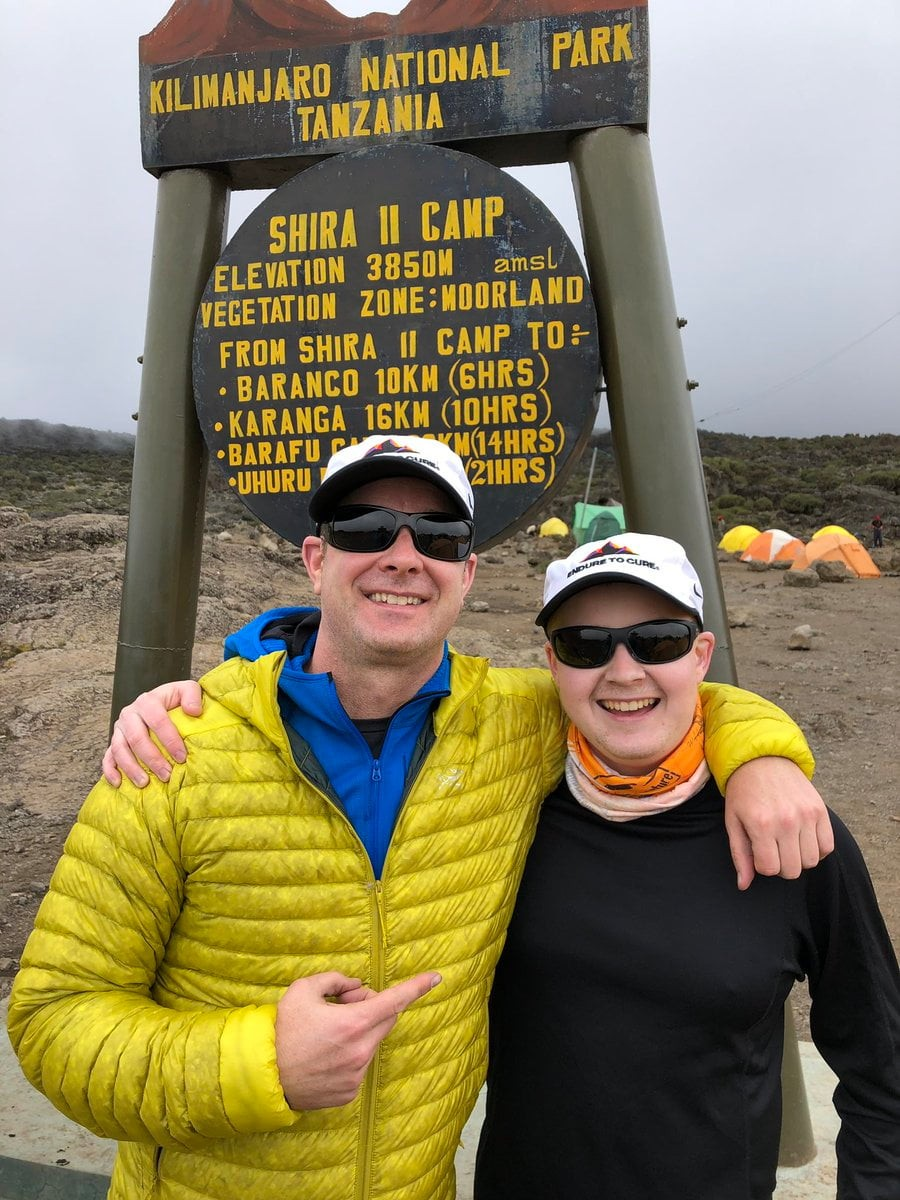 Jason Sissel and Nick Claudio standing in front of the Shira Camp sign
