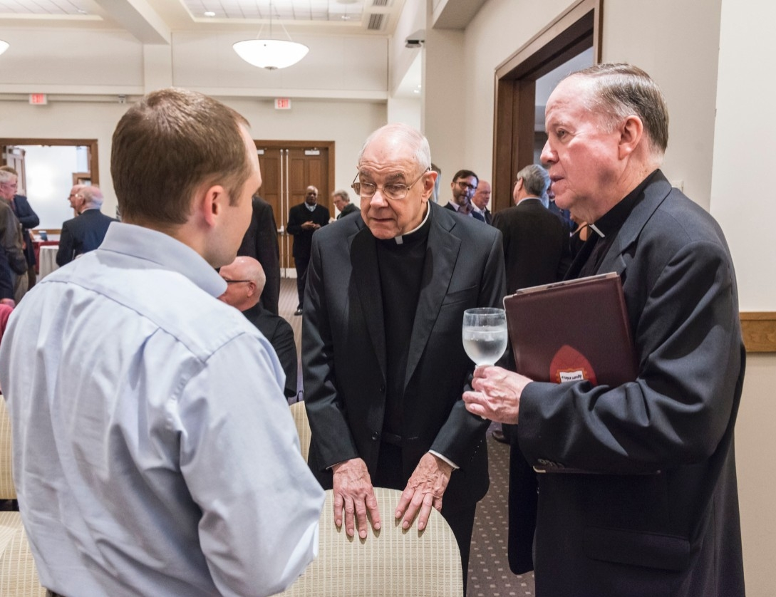 John Padberg, S.J., and University President William P. Leahy, S.J. at the Feore Family lecture event.