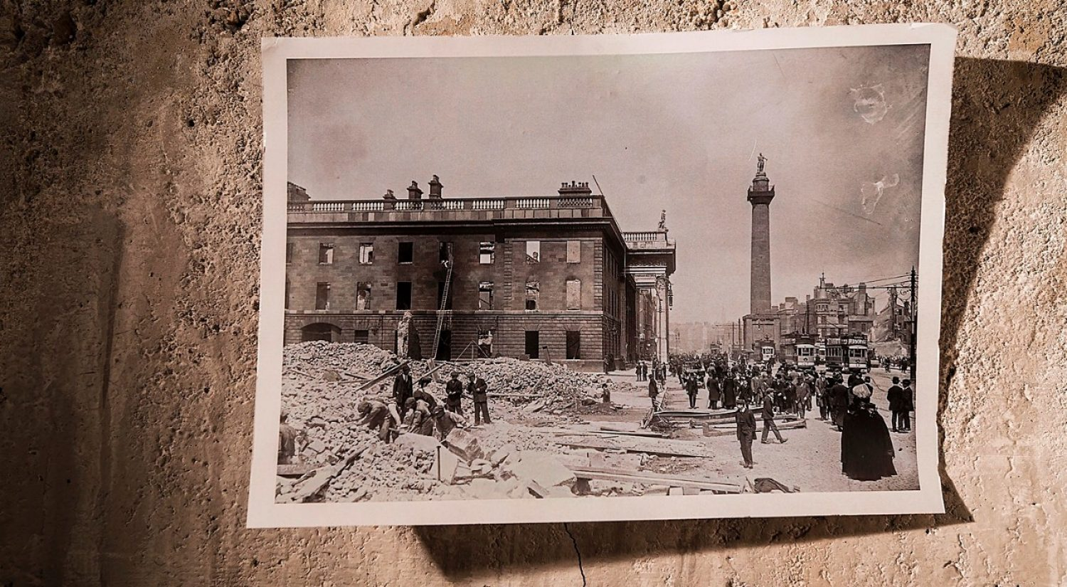 Easter Rising historical image of destruction in Dublin