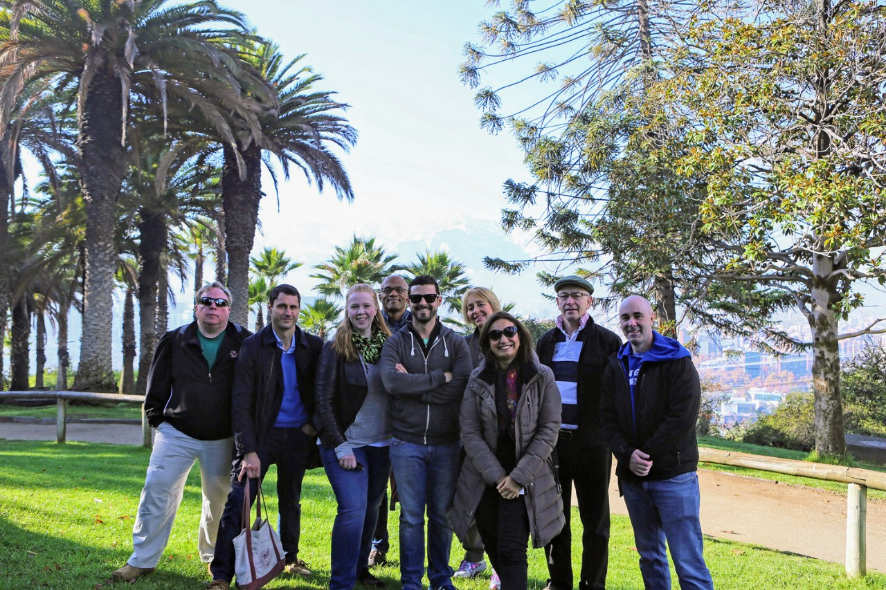 Cerro San Cristobal, Santiago, Chile. L-R: Cyril Opeil, SJ (Physics), Nick Gozik (OIP) Allison Adair (Eng) Martin Summers (Hist), David Storey (Phil) Franziska Seraphim (Hist), Alina Morales, (Univ Alberto Hurtado), Marcus Breen (Comm), and Pat O'Donnell (OIP). (Not pictured: Gustavo Morello, SJ)