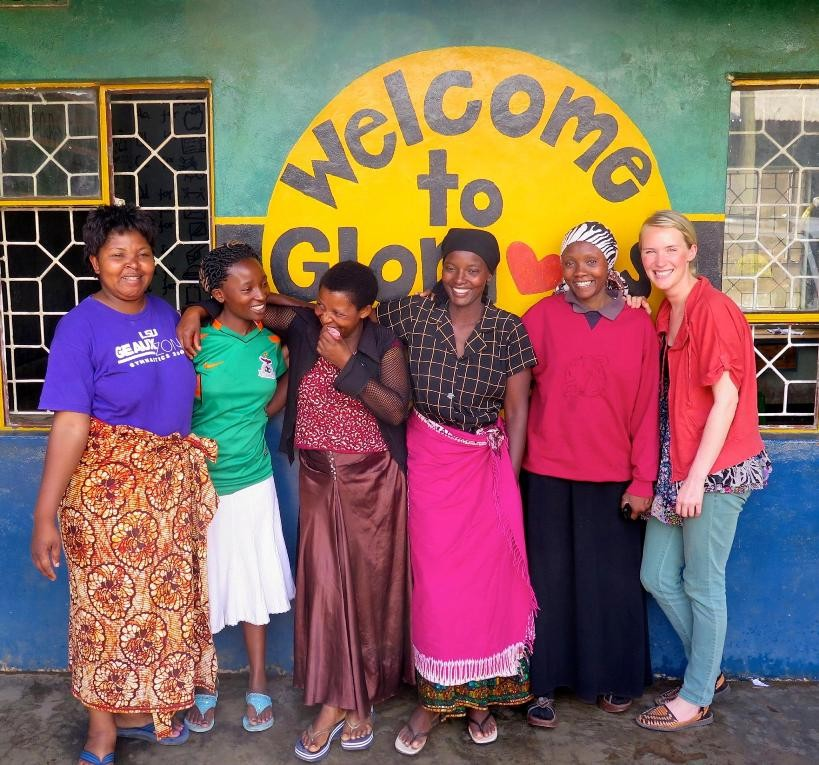 Katie Carey Nivard '09 outside of Glorious Orphans Care in Tanzania