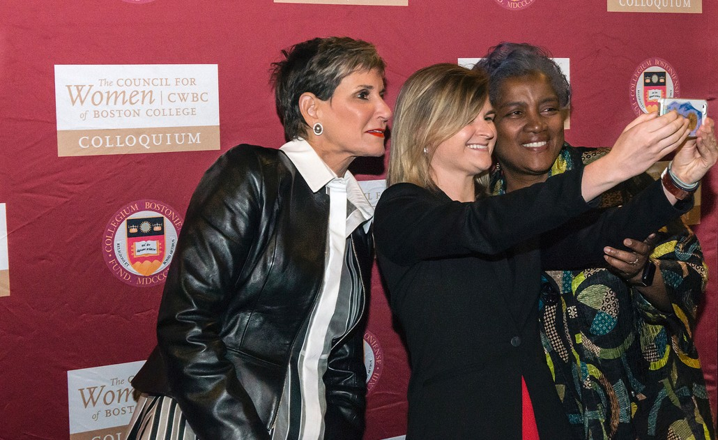 Mary Matalin, Donna Brazile with BC student Samantha Bondaryk