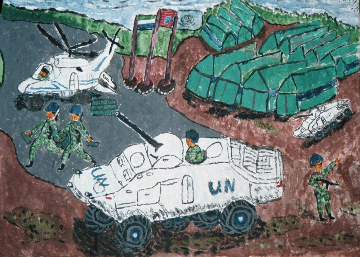 Tanks depicted by former child soldier