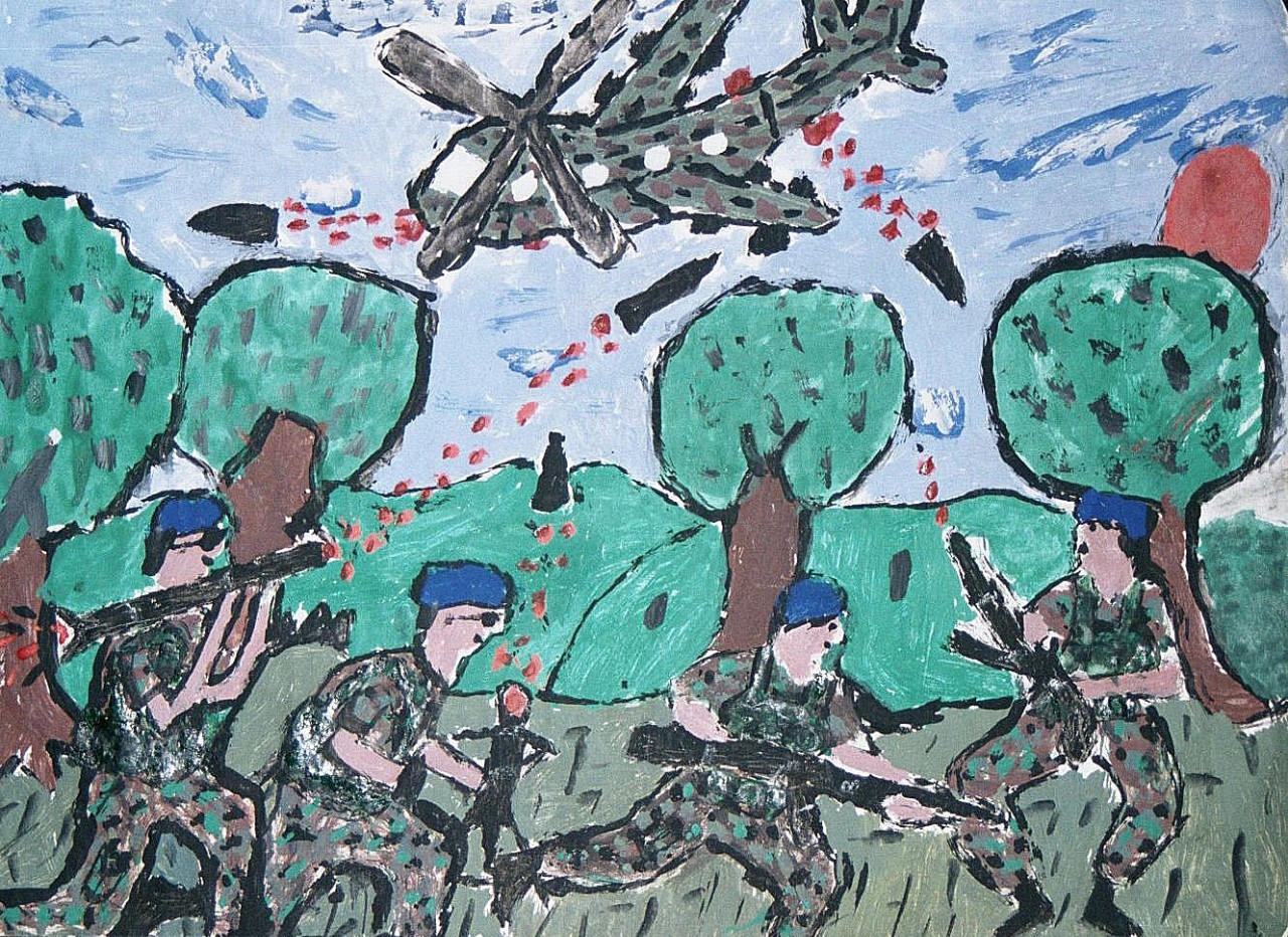 helicopters depicted by former child soldier