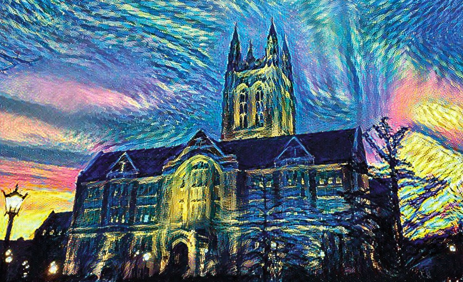 Gasson Hall, in the style of Vincent van Gogh