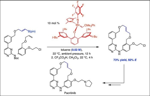 """Kinetically E-selective macrocyclic ring-closing metathesis"