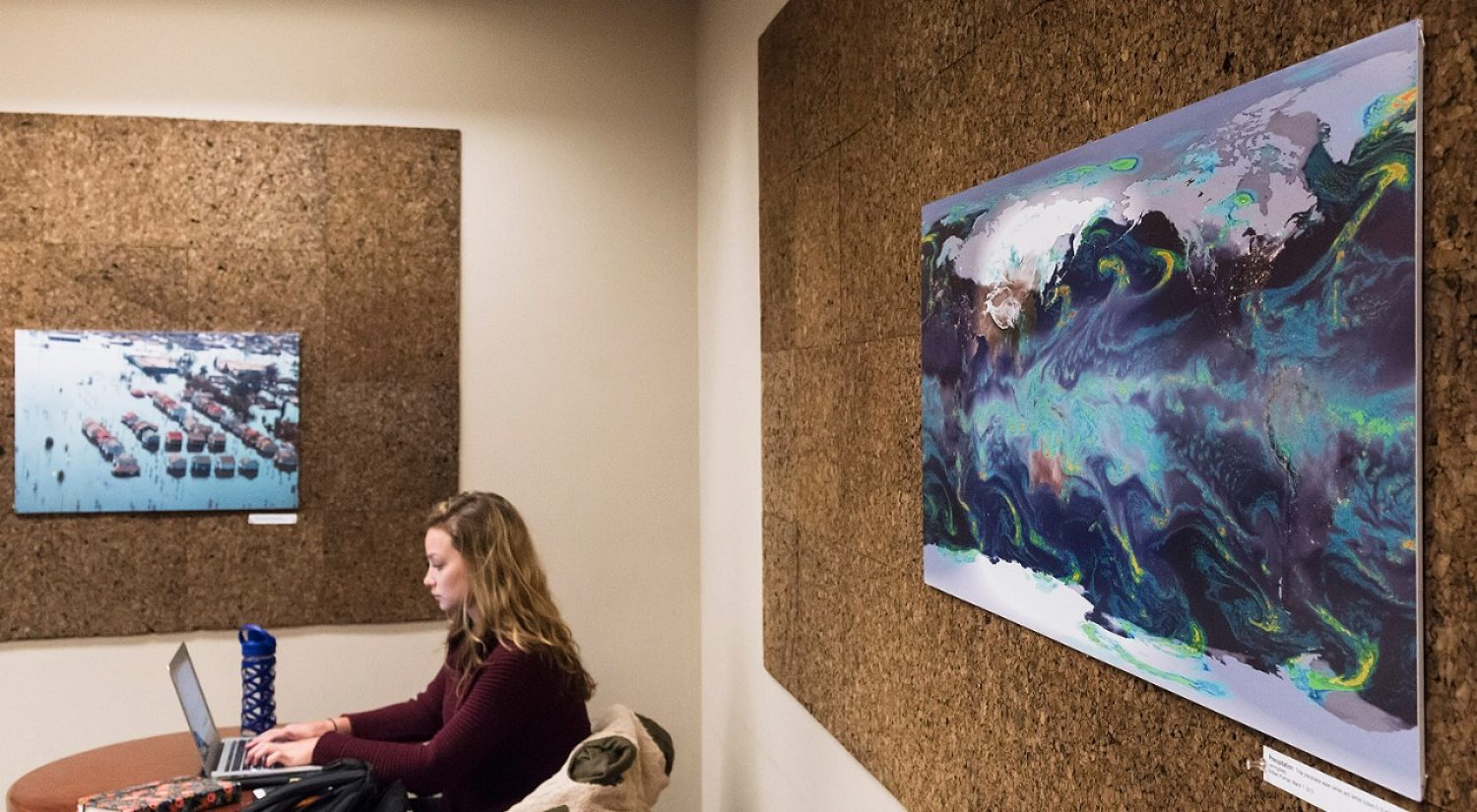"Senior Brigid Rooney's ""eARThproject"" exhibit shows the intricate processes which control the current global climate. (Photo by Lee Pellegrini)"