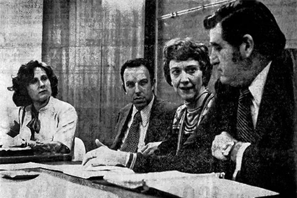 Burgess on panel in the 1970s