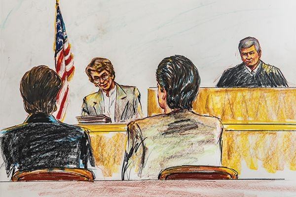 A courtroom sketch of Professor Ann Burgess' testimony during the 1996 sentencing hearing of the confessed serial killer Henry Wallace