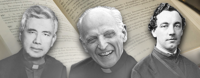 father pedro arrupe washing the feet of a boy