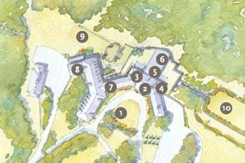 Watercolor map of Connors Center