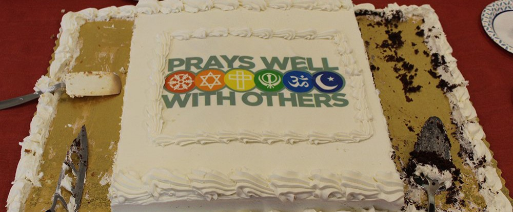 "Sheet cake that says ""Prays Well With Others"""