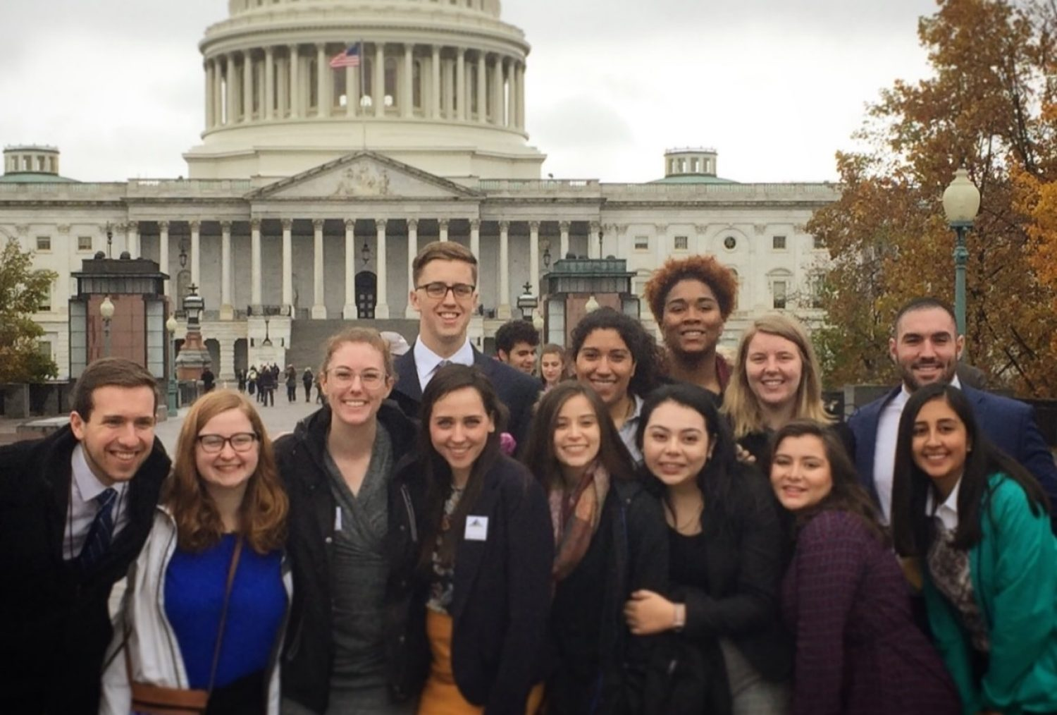 Group of students standing in front of United States Capitol building