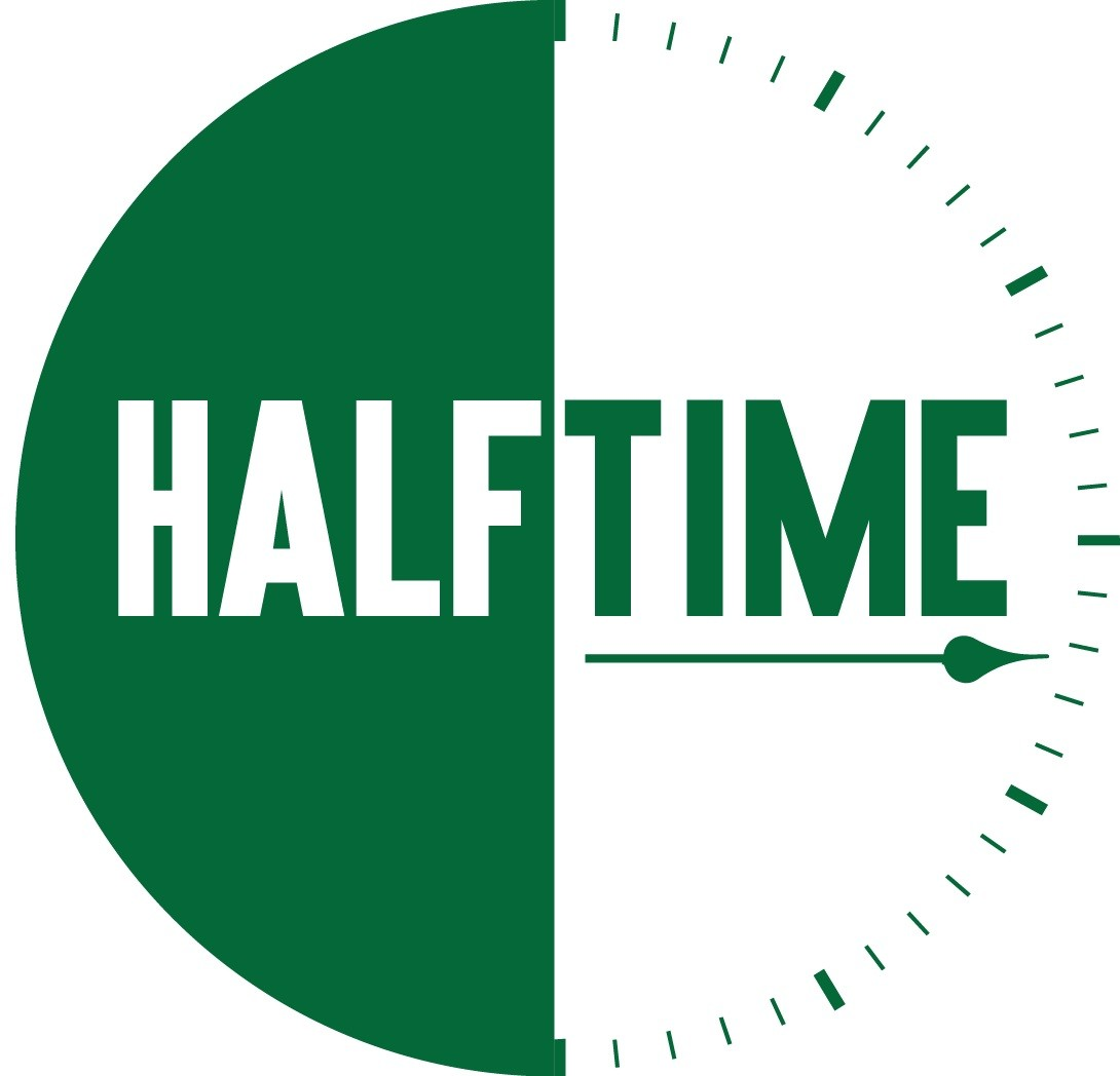 Green clock with Halftime written across