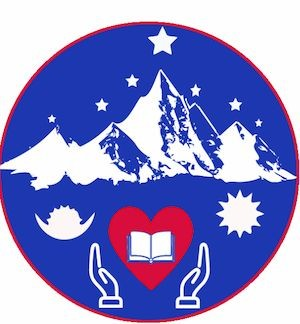 VEF logo picturing mountains with hands open to a textbook