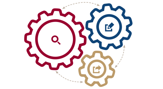 Three gears illustrating three-step career center model
