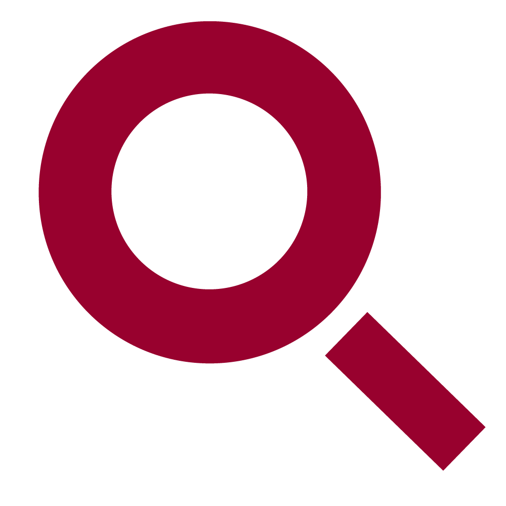 Maroon magnifying glass icon