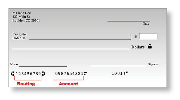 Image of sample United States bank check
