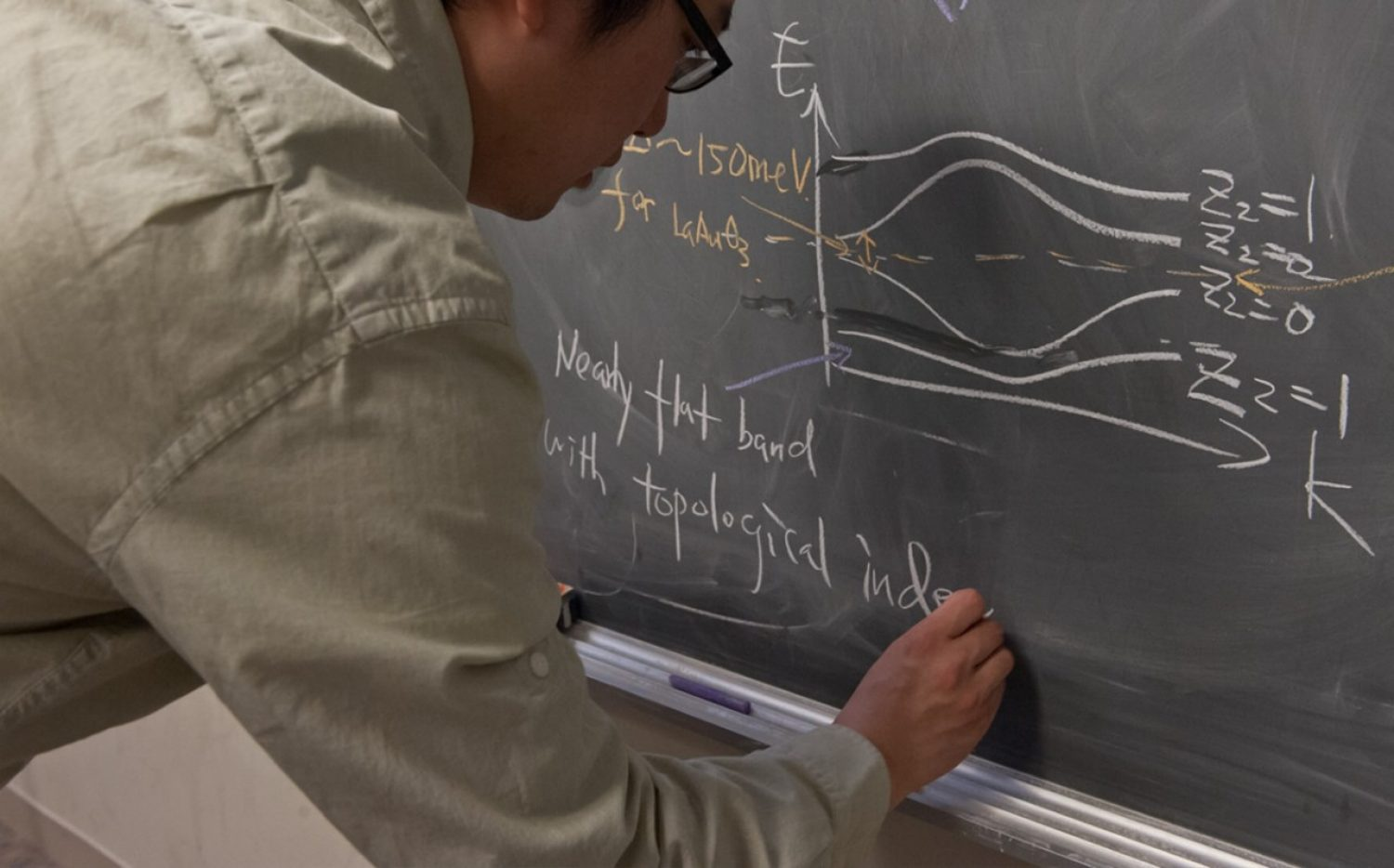 Researcher writing and equation on blackboard