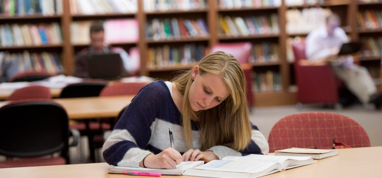 student studying in Fulton Hall Honors Library
