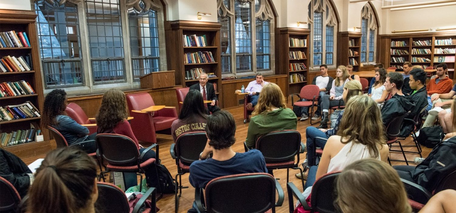 students in Honors Library