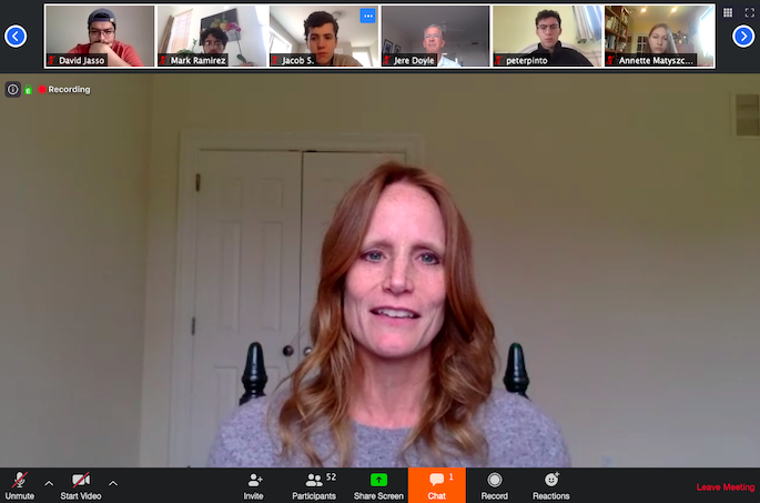 Lindsay LoBue '96 on a Zoom chat with the Shea Center for Entrepreneurship