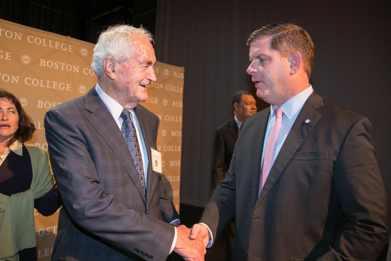 Joe Corcoran shaking Mayor Walsh's hand
