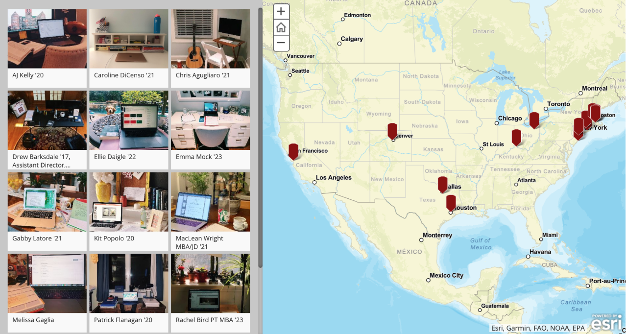 Screenshot of interactive map displaying student workspaces across the country