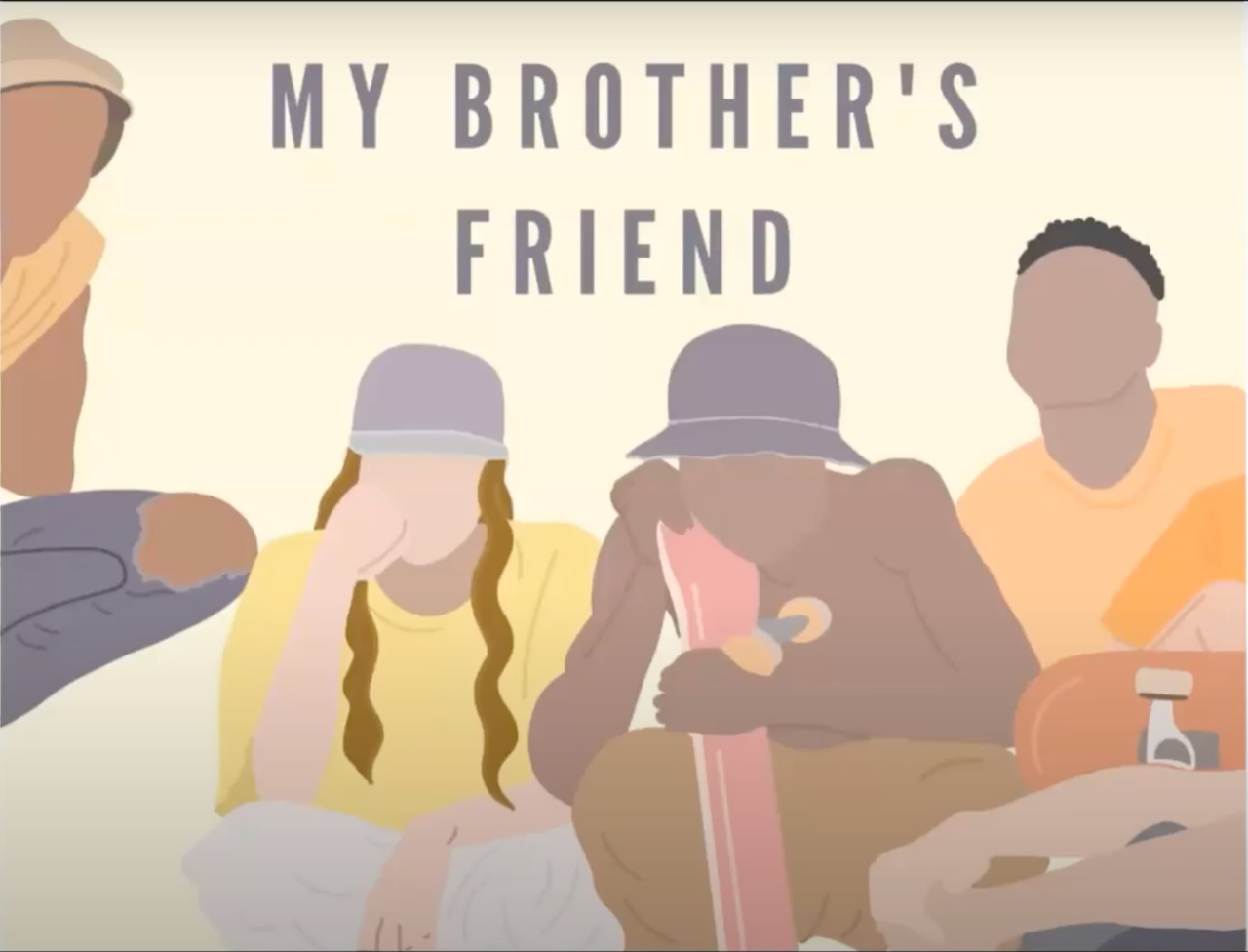 "Graphic of four young people in hats and casual clothing with text ""My Brother's Friend"""