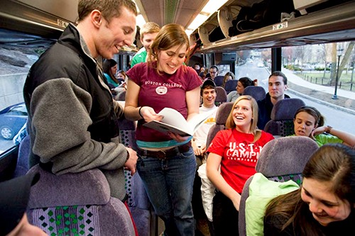 Photo of students on bus for Appalachia trip