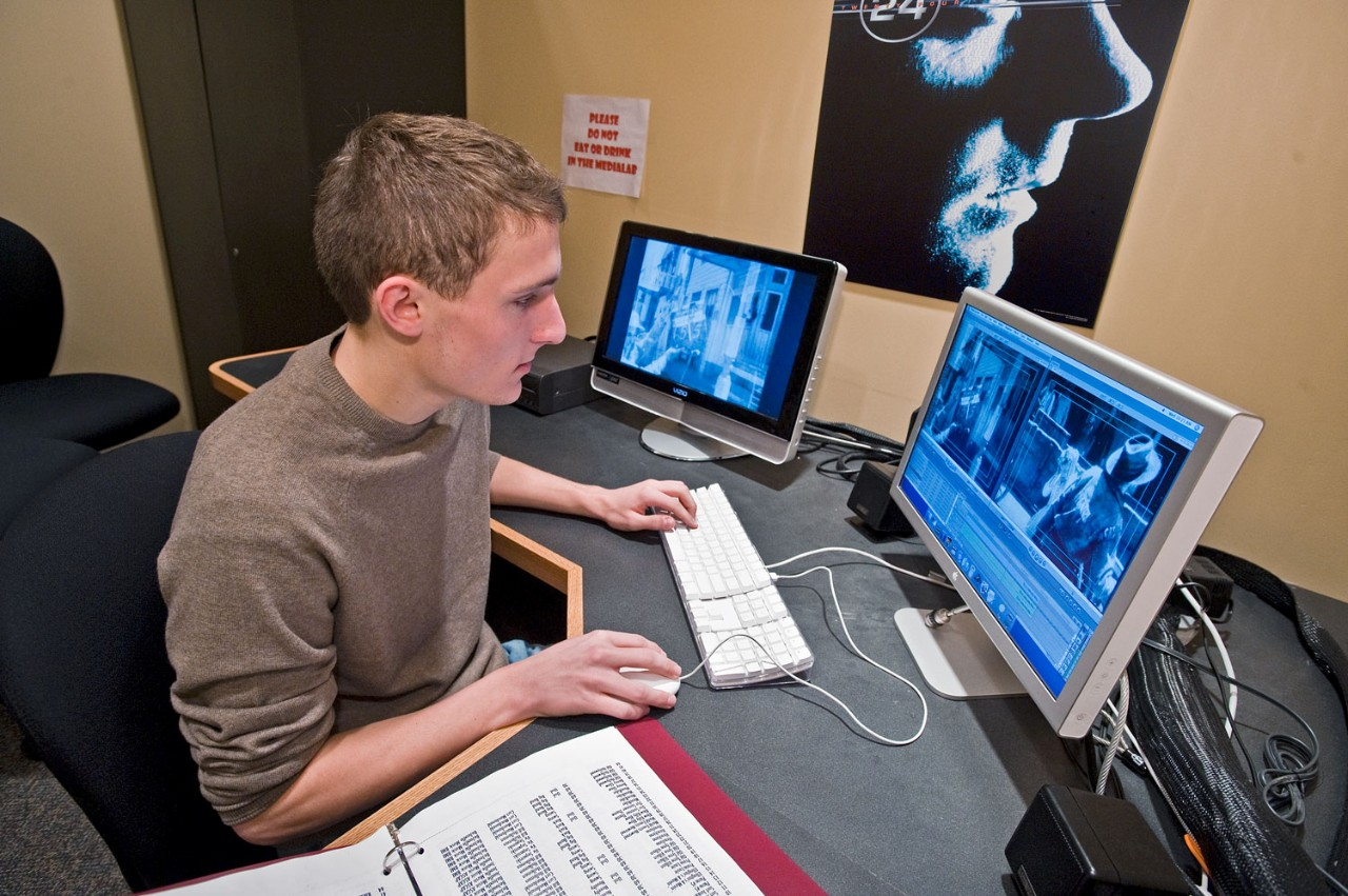 Student editing in the Media Lab