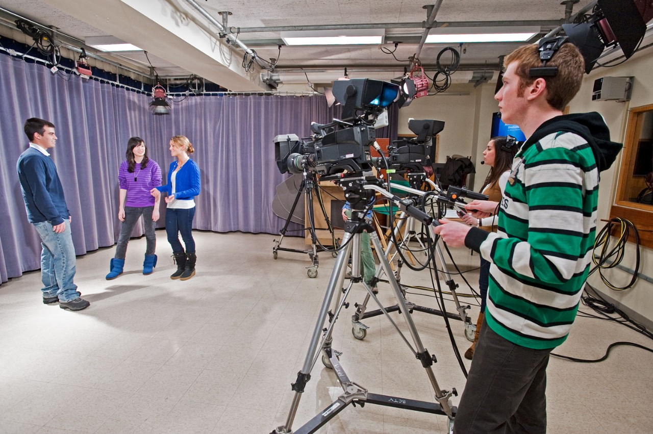 Students filing in the video production studio