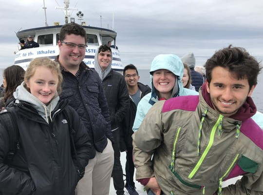 ENVS Seminar students on a whale watching trip