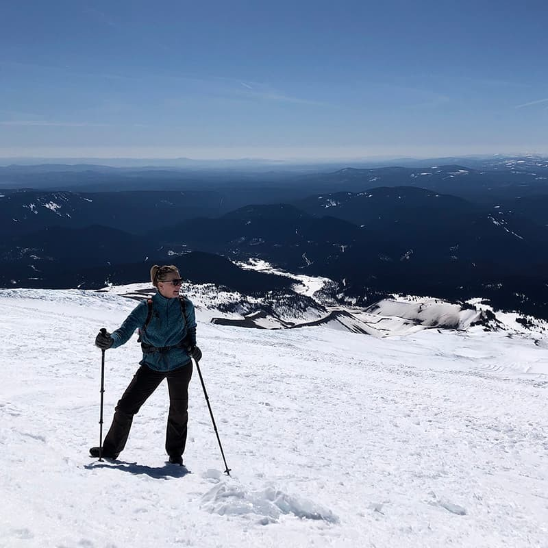 """This is a photo taken of my mom,"" writes IS Major Zoë Fanning '20, ""after we'd hiked above the chairlift at Timberline Lodge on Oregon's Mount Hood. After the chaos of moving back across the country in March, it provided some much needed calm and perspective."""