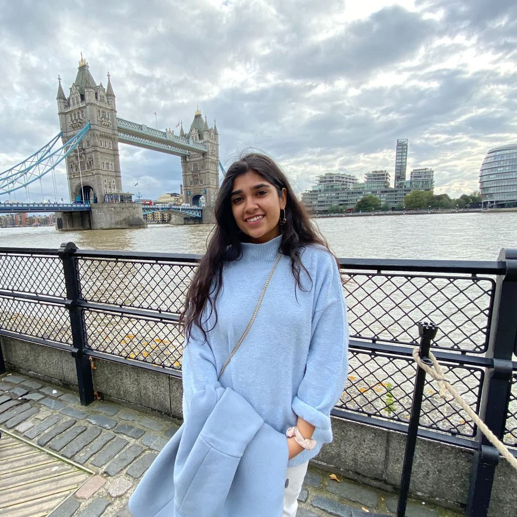 Ata Chowdhry '21 stands near the iconic Tower Bridge in London, England, where she studied abroad. Over 40,000 people use the Tower Bridge every day!