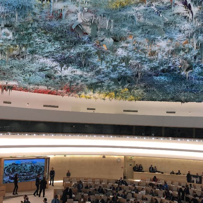 Piper McGavin '20 sends this photo of the Human Rights and Alliance of Civilizations meeting room, United Nations headquarters, Geneva, Switzerland