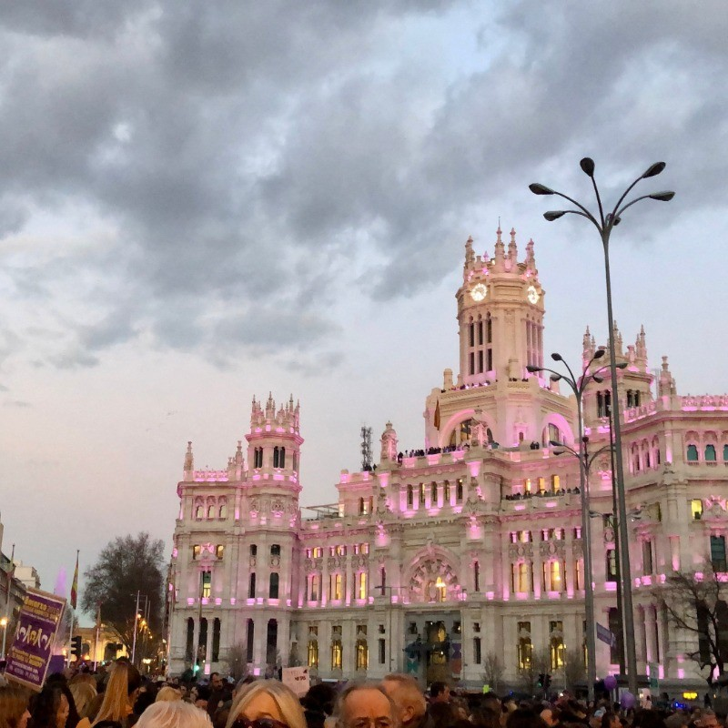 Gabriela Ontaneda '20 sends this photo from la Plaza de Cibeles, lit up for International Women's Day (March 8th), in Madrid, Spain.