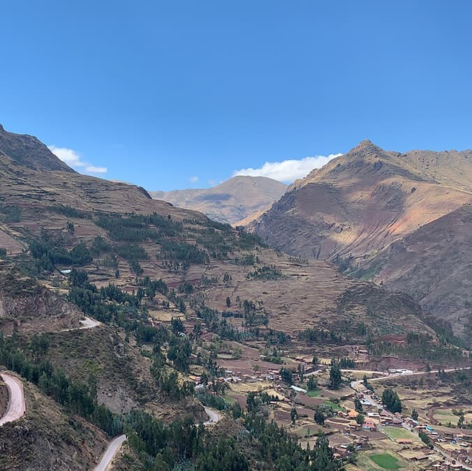 A view of the Andes mountains during a short hike through the Pisac Archeological Park near Cusco, Peru, from Grace Cavanaugh '21