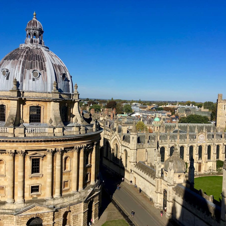 Julia Bloechl '20 captured this view from the tower of the University Church of St. Mary the Virgin at Oxford University, where she studied abroad last year. At left is the Radcliffe Camera, a library constructed in 1748.