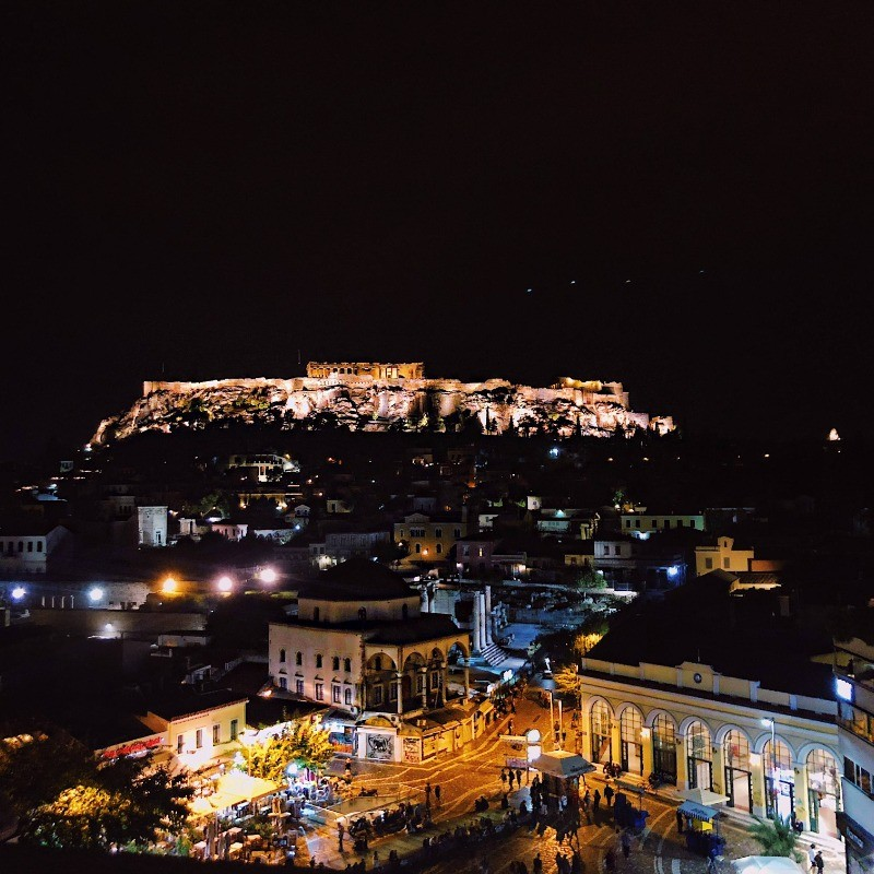 Ellie Kalemkeridis '20 took this photo from a rooftop in Monastiraki Square in Athens, Greece, where the Parthenon is lit every night and shines over the entirety of the city atop the Acropolis.